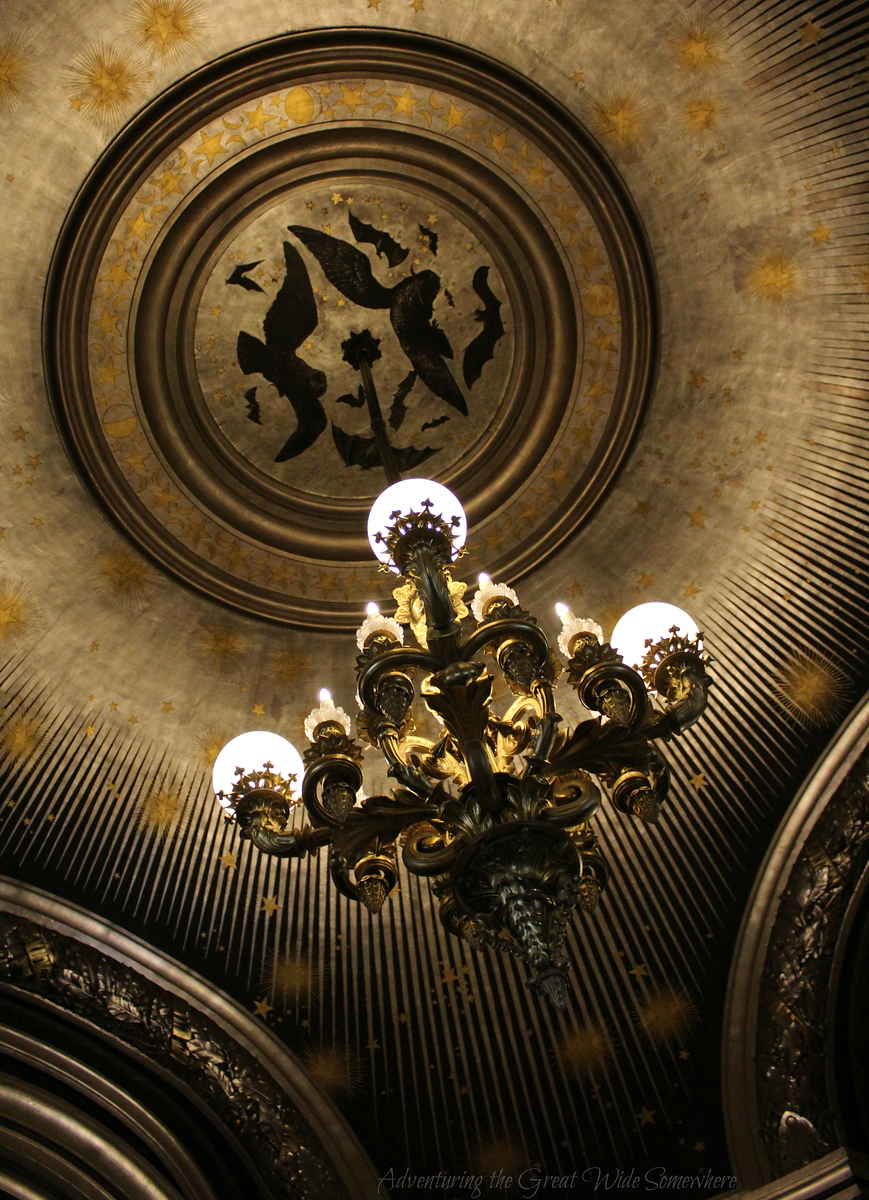 Cool Ceiling Detail and Chandelier in a Former Smoking Room of the Palais Garnier in Paris