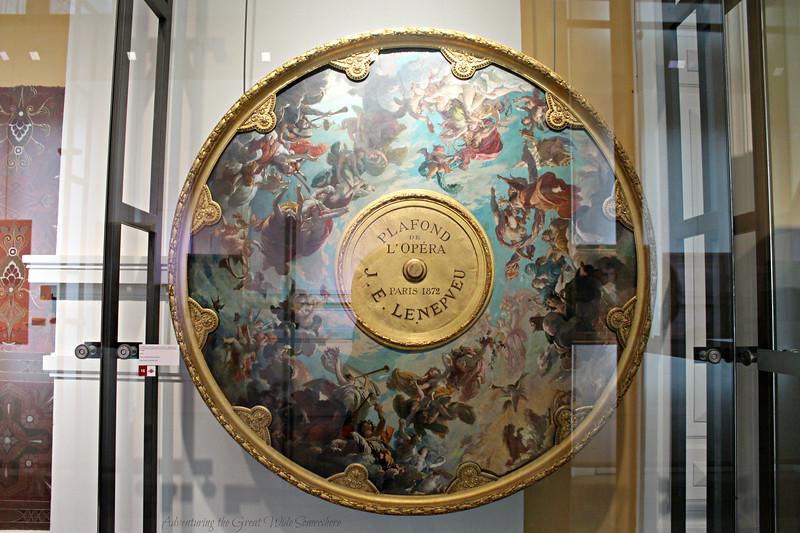 A replica of the original ceiling design of the Palais Garnier auditorium in France