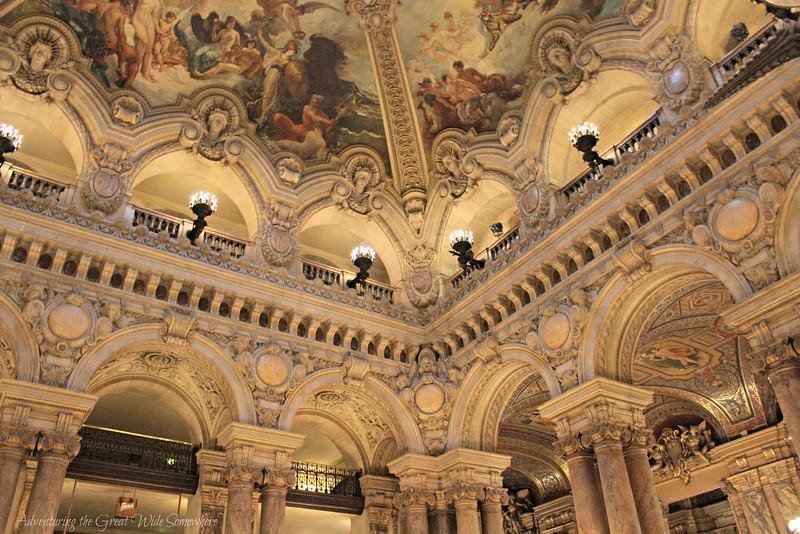 Sculpted ceiling detail of the Palais Garnier in Paris