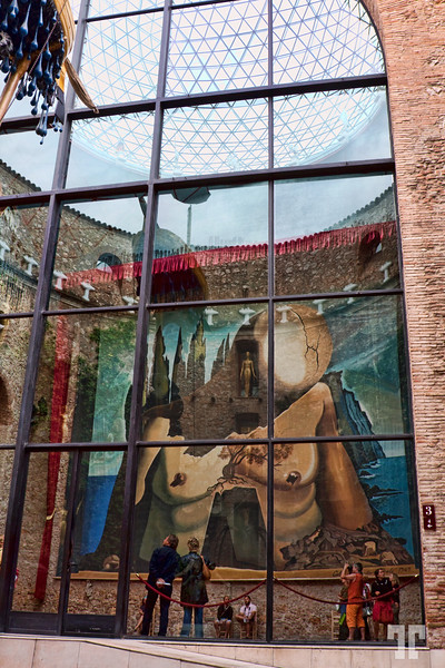 Window at the entrance into Dali museum Figueres