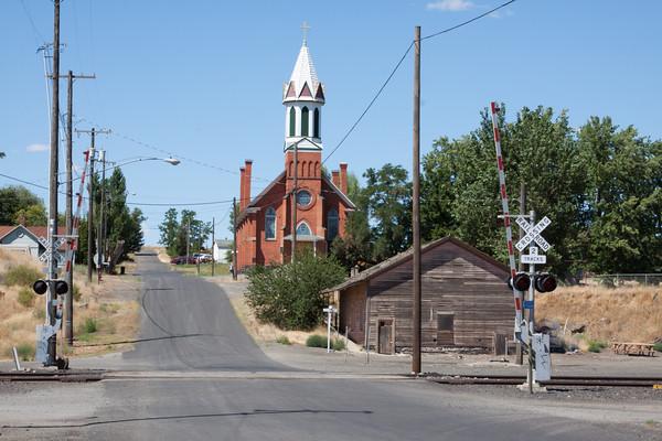 Church and train station in Spargue, Washington
