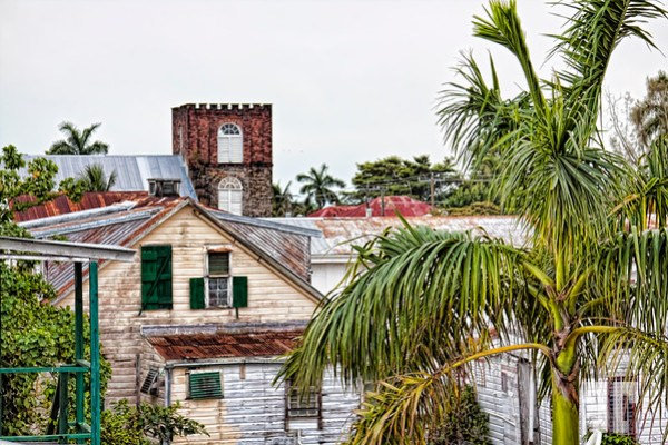 Mix of buildings in Belize City Harbor
