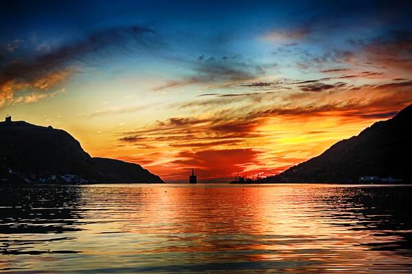 Sunset at St. John's harbor Newfoundland
