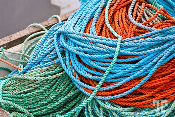 Colorful fishing ropes in St. Margret's Bay, Nova Scotia