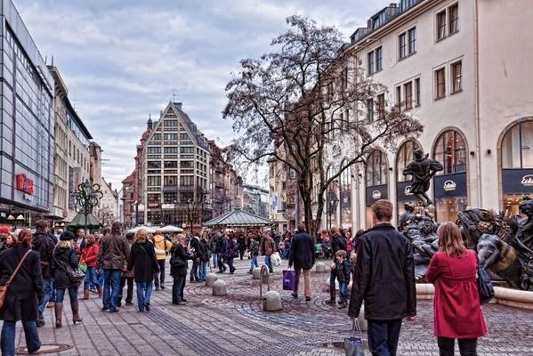 Pedestrian plaza downtown Nuremberg, Germany
