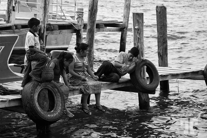 Guatemalan family having a good time at Atitlan Lake, Panajajel, Guatemala