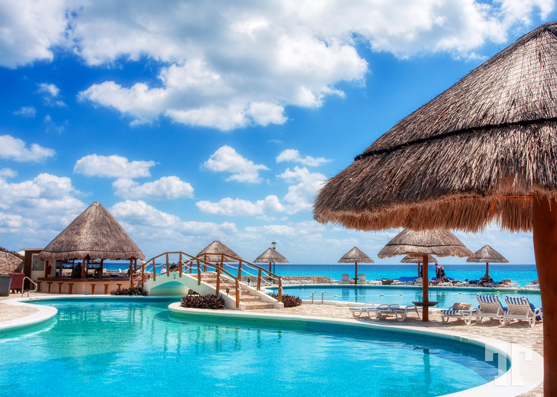 Pool and beach resort in Cancun, Mexico