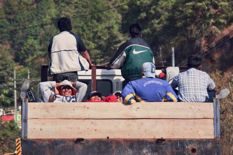 Truck transporting men to work in Guatemala