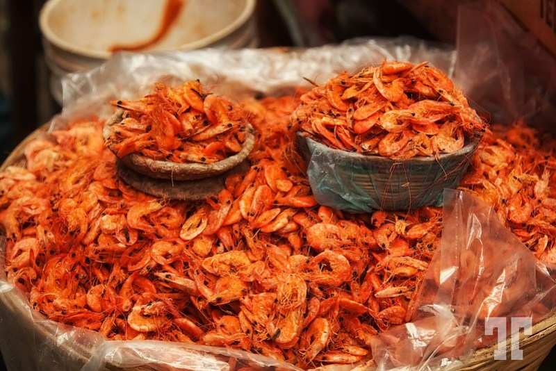 Dry shrimp at the market in Comitan, Chiapas