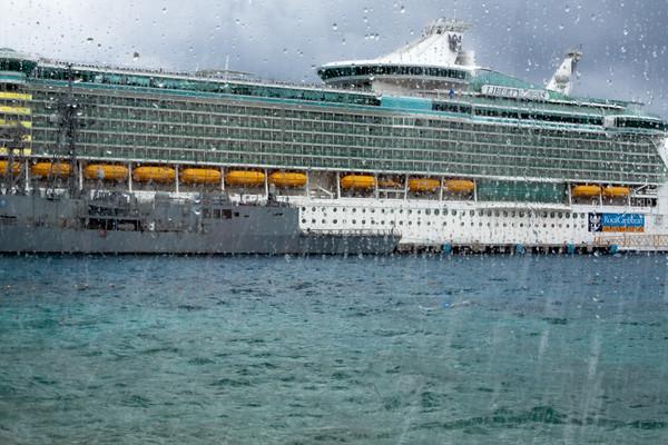 Cruise ship through water drops