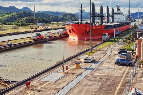 Cargo boat crossing Panama Canal Miraflores Locks