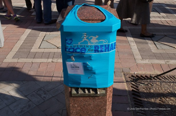 """A runner left her shirt and name tag at the Boston Marathon bombing victims memorial in Boston's Copley Square. The name tag says """"Nikki Mansfield RUNNER!"""" - April 25, 2013"""