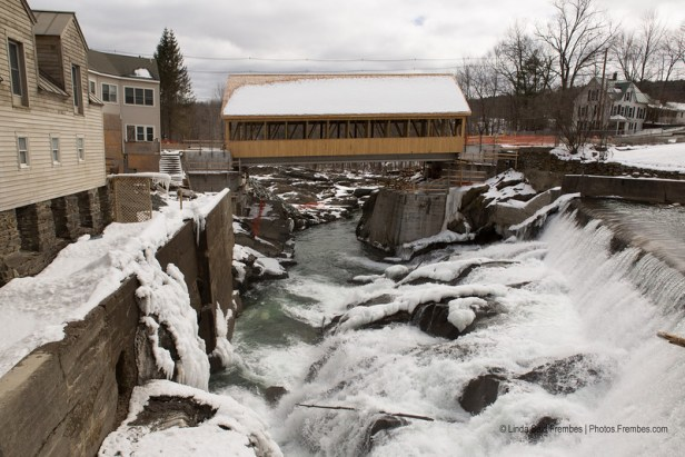 Photo of the new Quechee covered bridge taken from the back deck of Simon Pearce in March 2013.