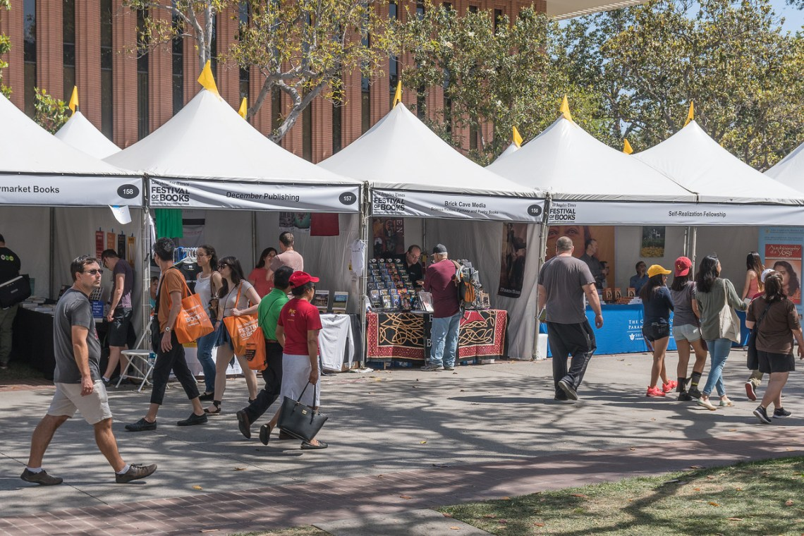 Various stalls greet visitors to the Festival of Books