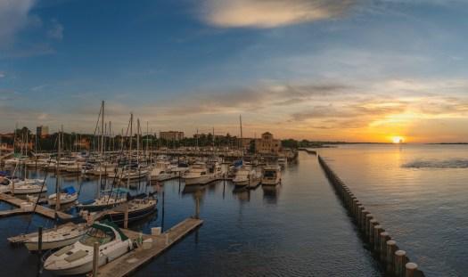 Sunset over the Twin Dolphins Marina in Bradenton Florida