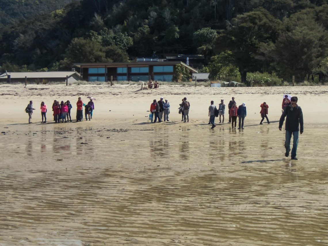 Campers and hikers slowing realize that they have to walk on out to sea.