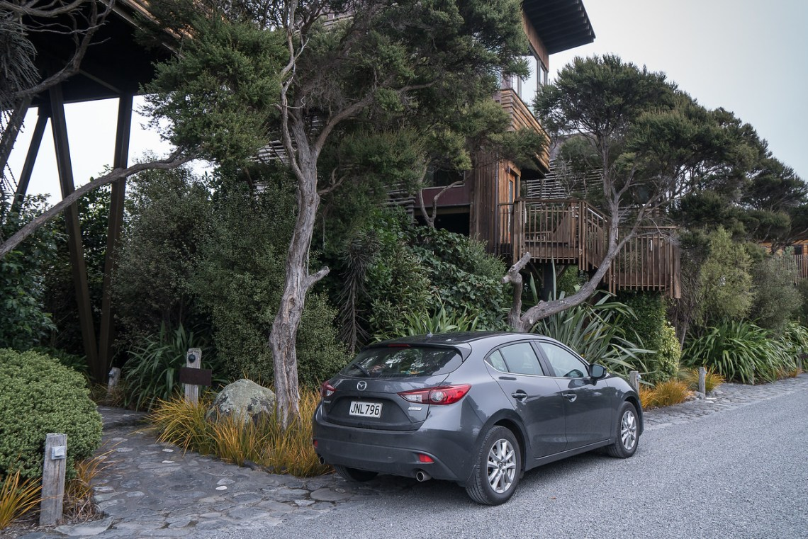 Our rental car in front of our treehouse