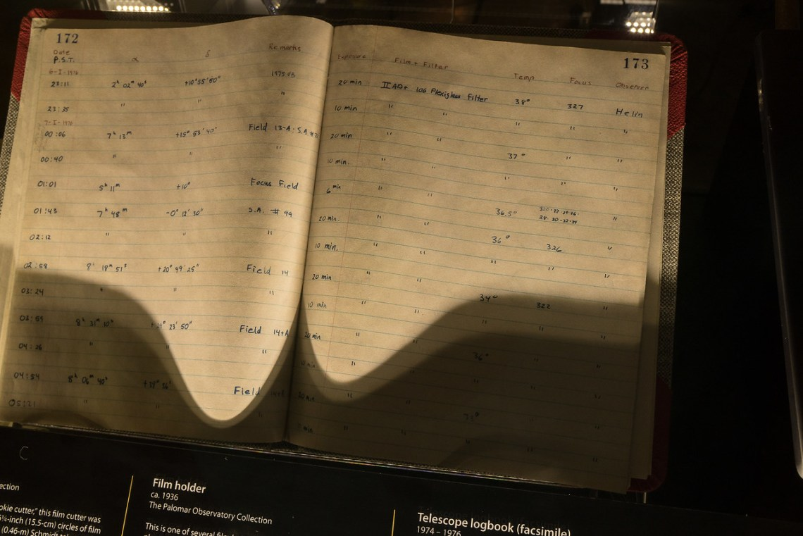 Palomar Observatory log book