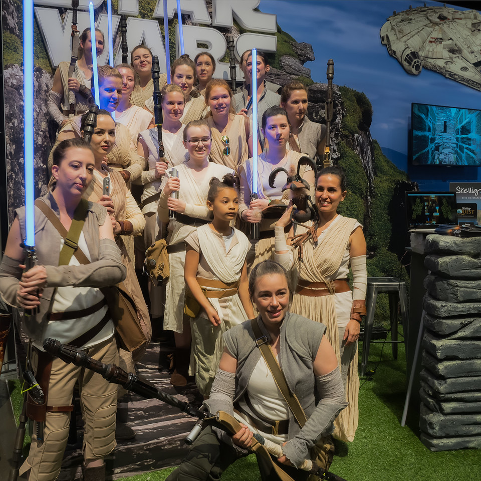 A group of Reys take over the Ireland booth at Star Wars Celebration