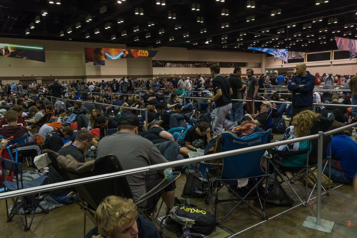 Fans waiting in The Chute at Star Wars Celebration Orlando