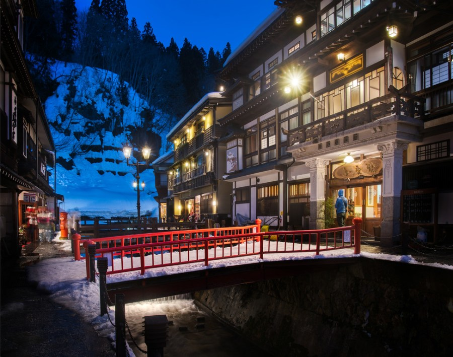 Bridge Crossing in Ginzan Onsen