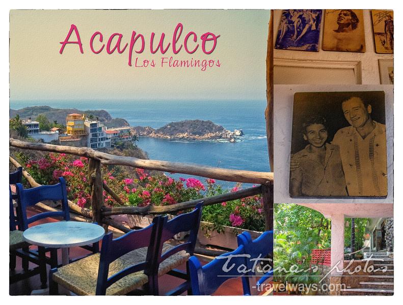 Los Flamingos hotel Acapulco, vintage postcard