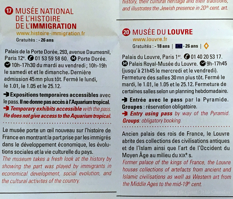 The foldout portion of the Paris Museum Pass, which offers detailed information for visiting each of the included attractions.