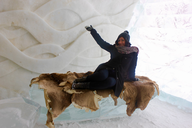 Kristin Amico at the Hôtel de Glace in Québec City