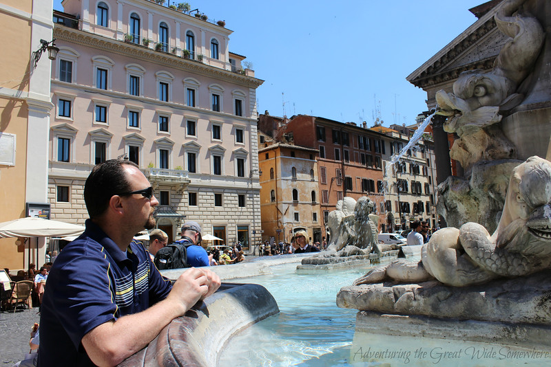 Dan studying the grotesque details on the Fountain of the Pantheon in Rome