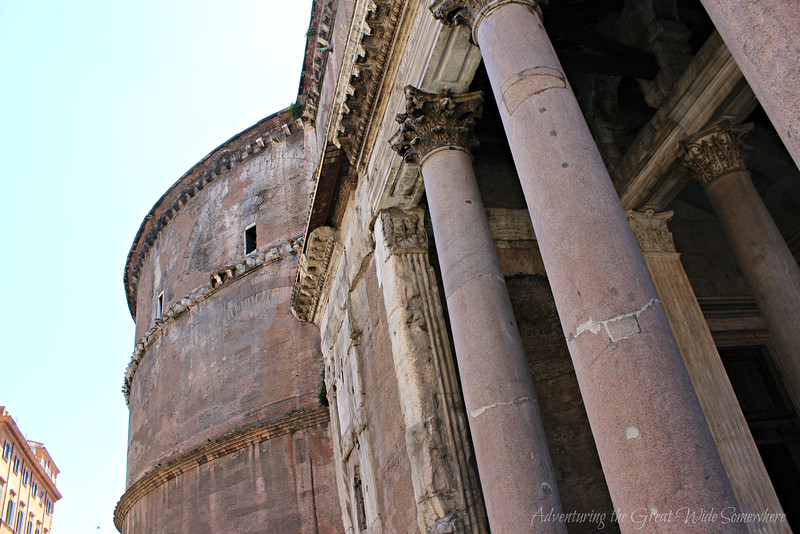 Side View of the Columns of the Pantheon in Rome