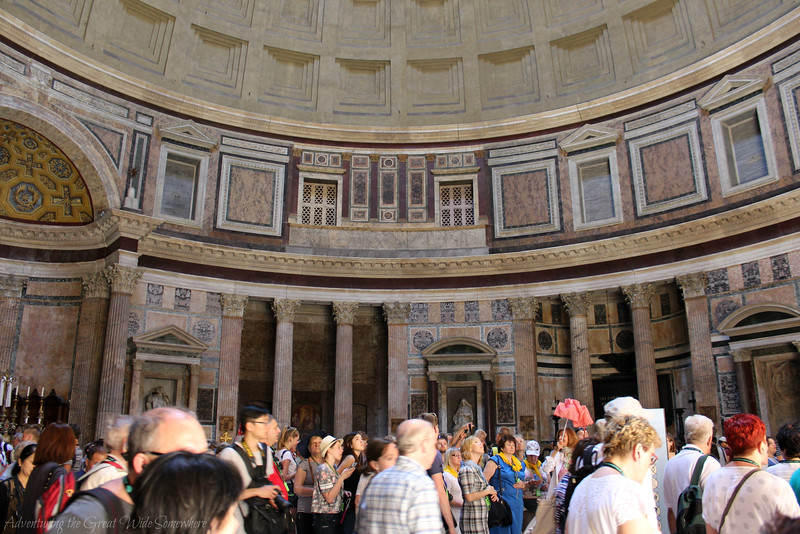 Crowds Inside the Pantheon in Rome, Italy
