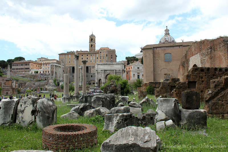 A breathtaking view of the main square in the Roman Forum. Rome, Italy.