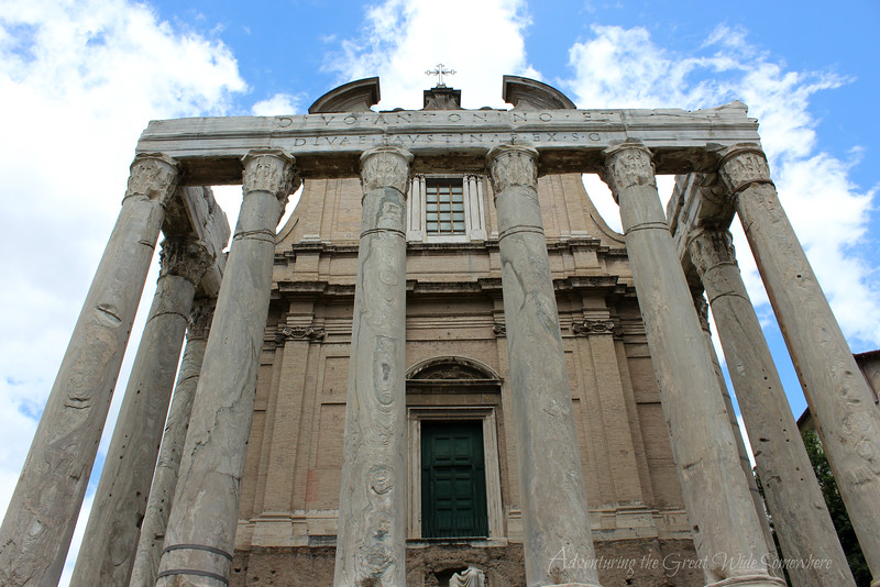 The Temple of Antoninus and Faustina at the Roman Forum in Rome, Italy.