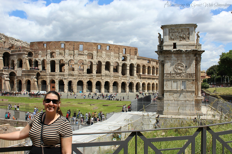 Myself posing with the Colosseum and the Arch of Constantine on our first trip to Rome, Italy.