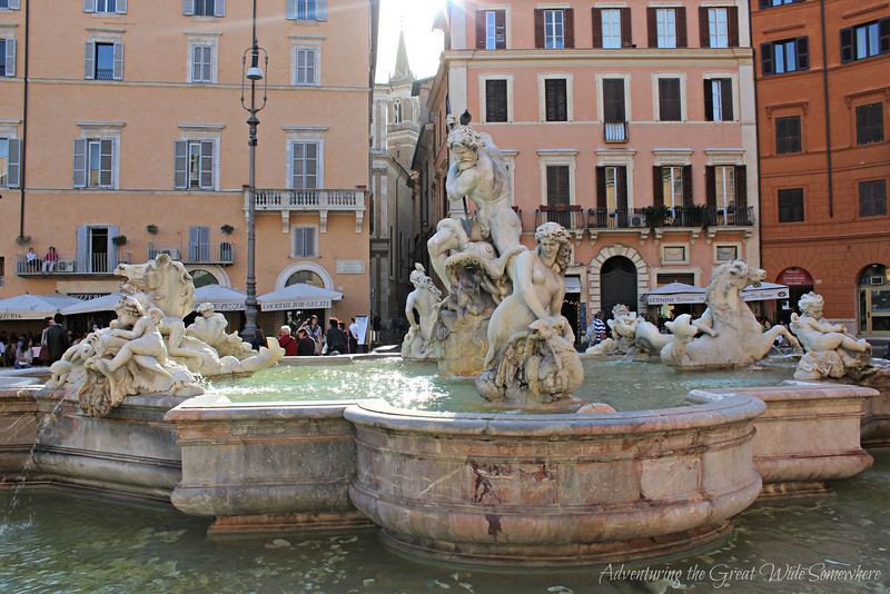 The Fontana del Moro, or Moor Fountain, at Rome's Piazza Navona