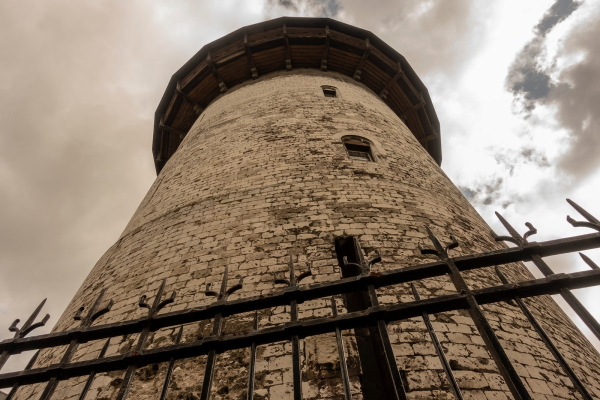 The medieval Tower of Joan of Arc soaring to the sky.