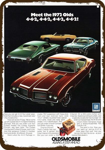 1972 442 : OLDSMOBILE, CUTLASS, SUPREME, CONVERTIBLE, COUPE, Vintage, METAL
