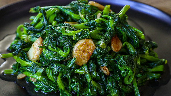 stir fried pea shoots