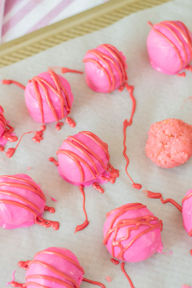 These Pink Cake Truffles are perfect for Valentine's Day. They're easy to make and tasty too. Pour them into a bowl for a party, or make them into cake pops