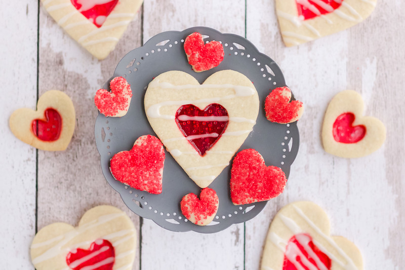 heart-shaped cookies made with Jolly Ranchers