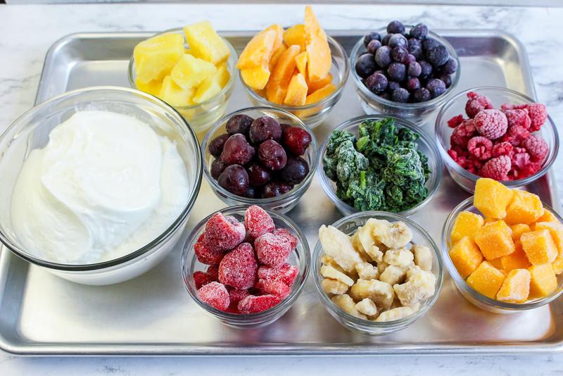 ingredients for rainbow yogurt popsicles