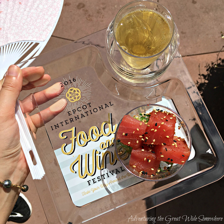Tuna Poke and Sparkling Pineapple Wine from the Hawaii Outdoor Kitchen at the 2016 Epcot International Food and Wine Festival