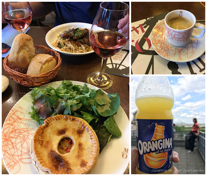 Our lunch at Cafe Campana in the Musee d'Orsay: rose, fresh rolls, a curry pot pie, a noodle dish, espresso, and later on, some Orangina on the museum terrace.