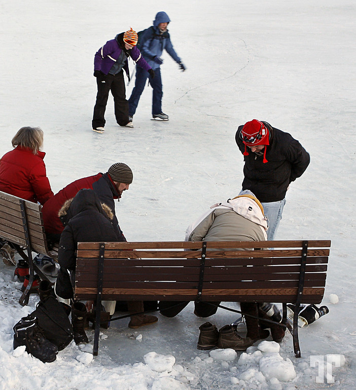 Attempting to skate on Rideau Canal, Ottawa