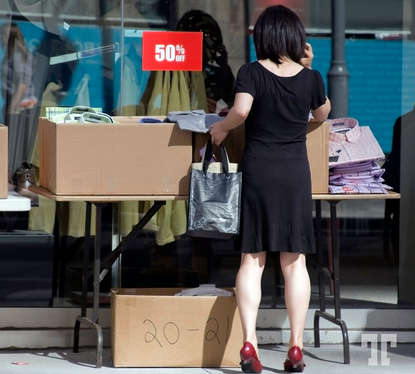 Discount shopping on the sidewalk in Ottawa