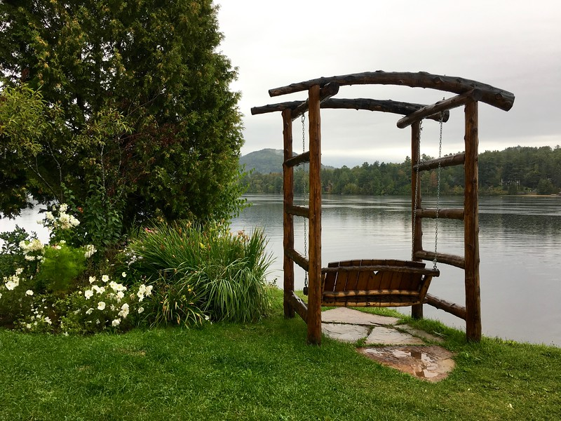 swing on Mirror Lake at the Golden Arrow Lakeside Resort