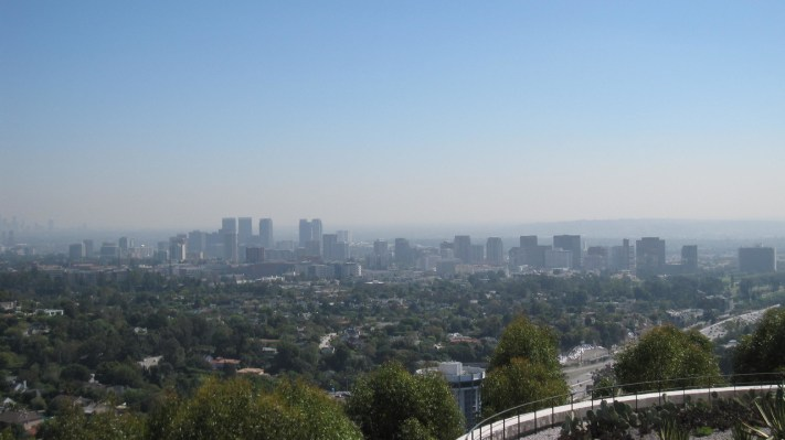 View of downtown LA (distant) and Beverly Hills from the Getty Center in Los Angeles, California