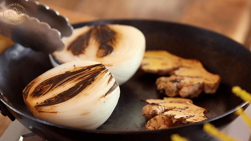 BEST Vegan Pho Recipe, roasting onion and ginger