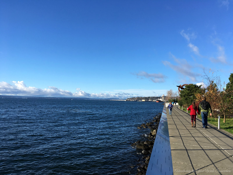 Lovely waterfront walkway on the Elliott Bay Trail in Seattle