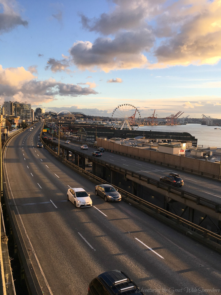 Sunset Over the Alaskan Way Viaduct and Seattle Great Wheel